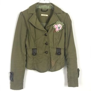 FREE PEOPLE Moto Jacket Olive Army Green Military